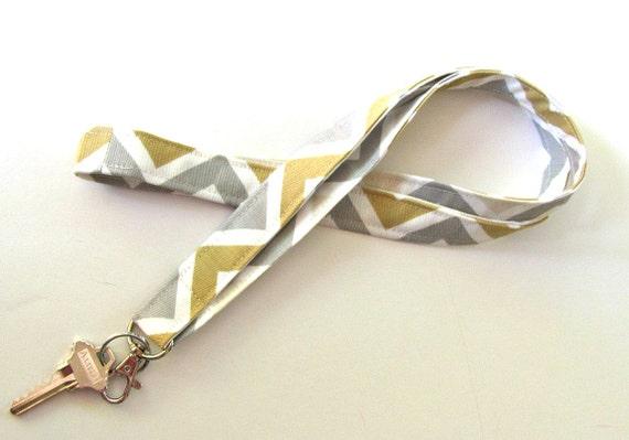 Chevron Lanyard Cotton Fabric ID Badge Lanyard Unisex Accessory Grey Cream Mustard Yellow Key Ring for Teacher Student Nurse School Supplies