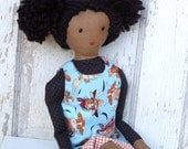 """Waldorf Inspired Style Soft Cloth Doll """"Andrea"""" with Reversible Dress"""
