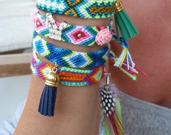 Macrame bracelets, friendship bracelets, tassel bracelet, suede tassel, colorful bracelet, set of bracelets, gift for her, christmas gift