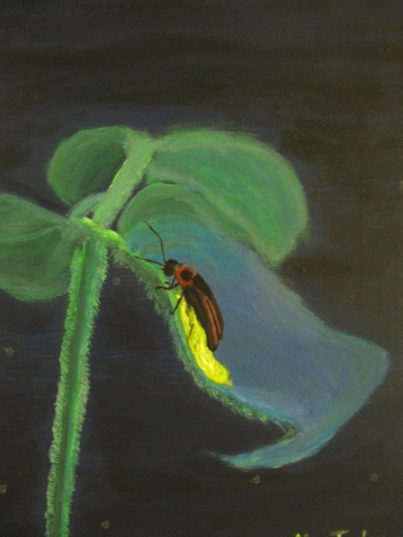 An original acrylic painting entitled, Firefly Up Close