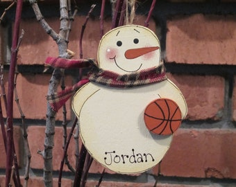 Personalized Snowman Basketball Ornament - sports ornament
