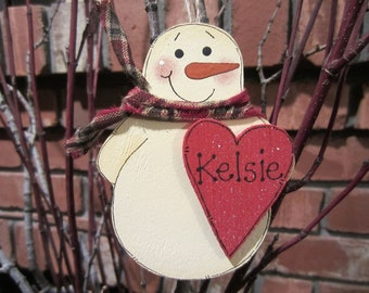 Personalized Snowman Ornament - Red Heart