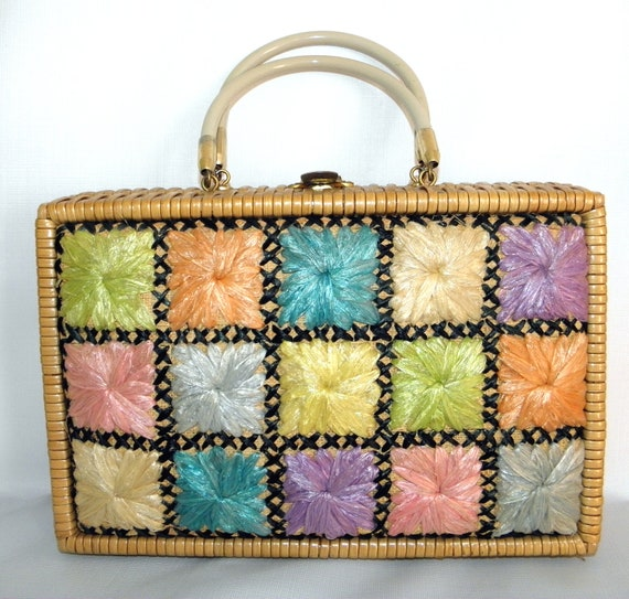 Vintage Bags By Donna Wicker 1950s 1960s Division of John Wind Hong Kong  Wicker  Weaved Box Purse Raffia Floral Patch Work