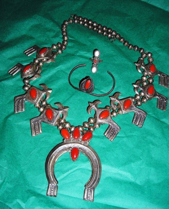 Vintage  Squash Blossom  Silver and Coral Necklace Bracelet and Ring.... Hand Wrought ... Navajo Jewelry...Coral Squash Blossom