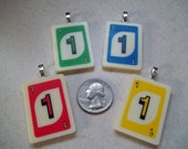 Number One Uno Choose Your Color handcrafted Game Piece Necklace on voile necklace