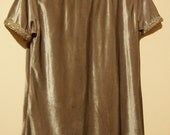SALE Mauve Silver Lush Velvet 1960s Style Mini Dress Top With Neck and Sleeve Detailing