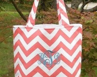 MEDIUM coral and white CHEVRON stripe zigzag Handbag/ Diaper Bag/ Purse/ Tote/ Beach Bag
