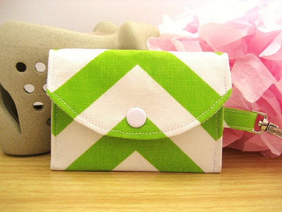 Green Chevron Fabric Sandi ID Wallet, ID Holder, Coin Purse, Snap Pouch