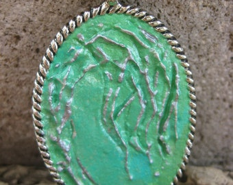 Silver 3D Weeping Willow with an Aqua Background in an Ornate Silver Oval Pendant