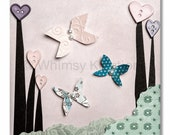 Children's Art, Nursery Art, Kids Decor, Nursery Wall Art, Butterflies and Buttons II