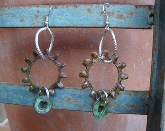 Hardware Earrings:  Hardware Washer Jewelry, Repurposed, Recycled, Upcycled