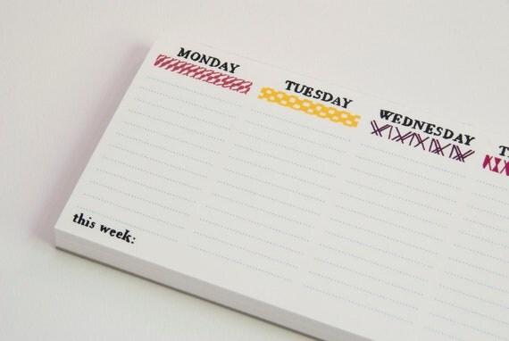 Handmade weekly planner (illustrated) desk note pad