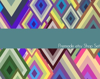 Premade Etsy Shop Image Set - Design 86 Retro Diamonds