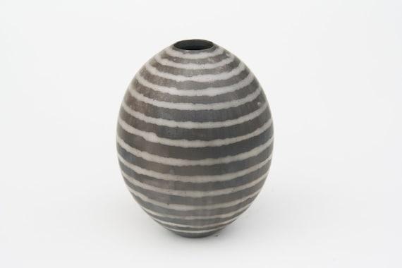 Striped Ceramic Pot - Sawdust Fired