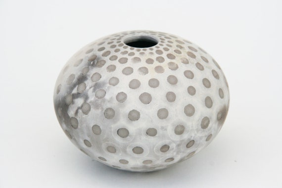 Spotted Ceramic Vessel - Sawdust Fired Pot