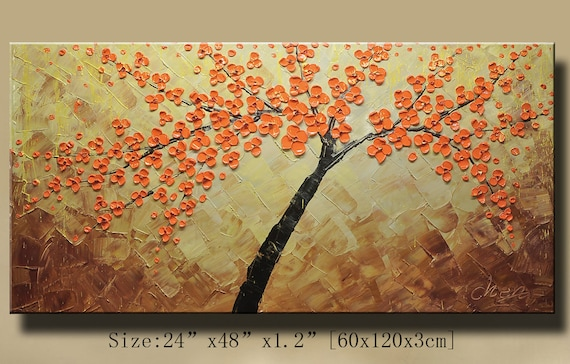 Abstract Wall Painting, Impasto Landscape painting,Thick Textured Modern Palette Knife painting by Chen 0181