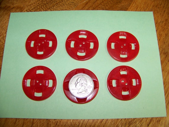 Set of 6 Large Red Vintage Plastic Buttons