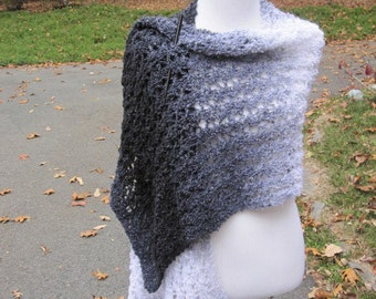 Black White Grey Handmade Wrap  Knit Shawl in Ariel Lace