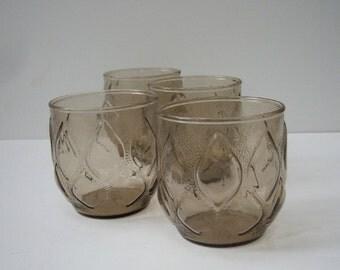 Mid Century Smoky Glass Tumblers Set of 4 Juice Glasses