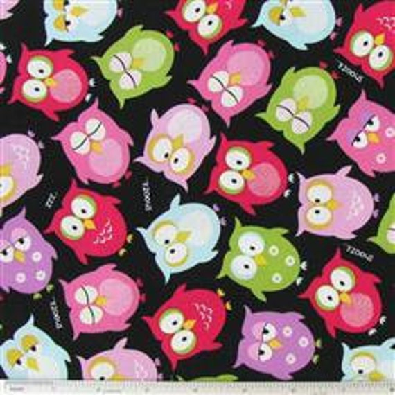 Fabric by the Yard Whoot Owl Quilting Designer Cotton Apparell Children Fabric