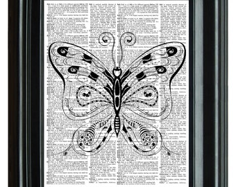 Butterfly Vintage Print, VINTAGE DICTIONARY PRINT, dictionary page, Upcycled dictionary art print,  8.25x11.25 num. 70