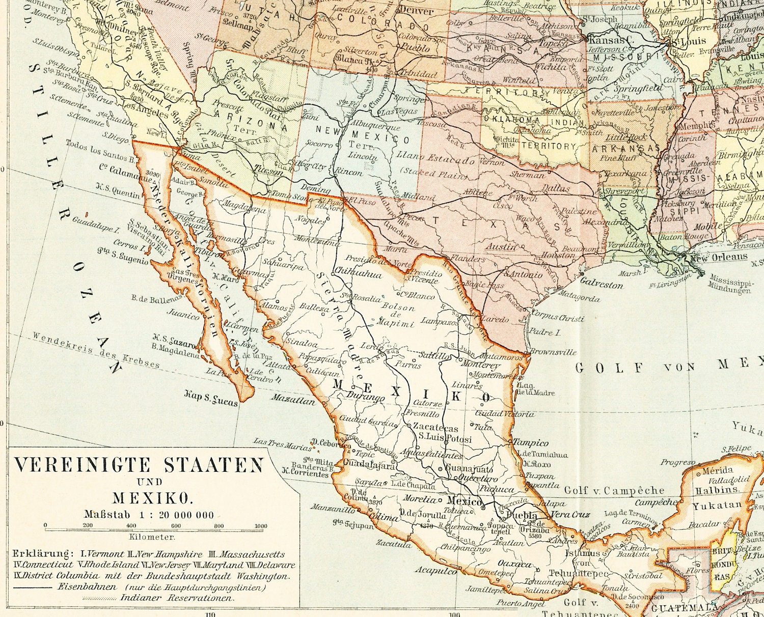 United States Map Print Mexico Map Print Indian Reservations-2367