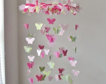 Butterfly Chandelier Mobile in Light pink, dark pink, and grassy green
