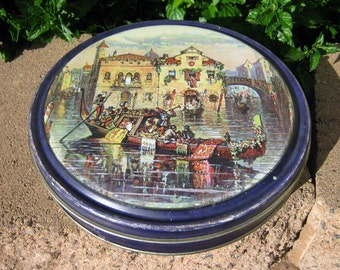 Venice carnival tin, Vintage Canco collectible cookie candy tin, Venice illustration food canister