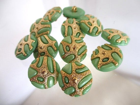 12 Vintage 18 mm Pearl Green Tone Round Shank Button with Gold Color Embedded Design