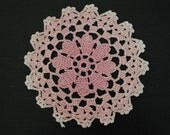 FREE SHIPPING Vintage Hand Crocheted set of 2 Pink Doilies