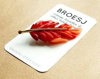 Red Leaf Brooch Pin Vintage Autumn Gold