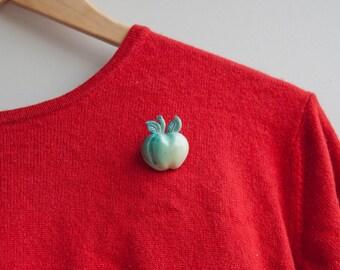 Apple Brooch Pin Fruit Jewelry Green Brooch