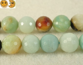 15 inch strand of natural Amazonite faceted(128) round beads 12mm