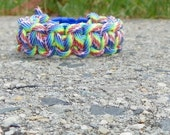 rainbow paracord bracelet - dog collar  custom sizes available