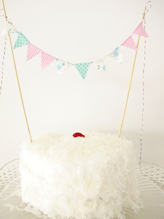 Fabric Cake Bunting Decoration - Cake Topper - Wedding, Birthday Party, Shower Decor in pink gingham, blue floral & aqua