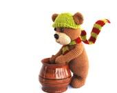teddy bear, amigurumi brown bear, crocheted animal toy, brown green plushie for children, cuddly, softie