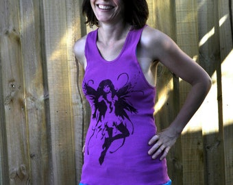 Fairy Singlet Dress. Singlet Top. Fairy Screen Print. Mini Dress. T Shirt Dress. Sizes US 6, 10, 12. Australia 10, 14, 16