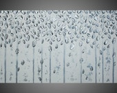 Silver Birch tree painting Abstract Modern Acrylic Painting Wall Art Textured White Silver Metallic Modern 48x24 Ready to Hang Made to Order