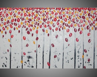 Red Birch trees Abstract Acrylic Painting on Large Canvas Forest Textured Black White Grey Orange Yellow 3D Art Deco 48 x 24 Made to Order