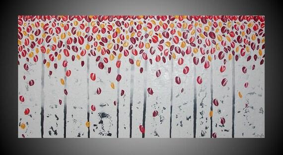 Quadri astratto pittura dipinto alberi acrilica di acrylkreativ