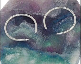 Smooth Hoop Silver Tribal Earrings