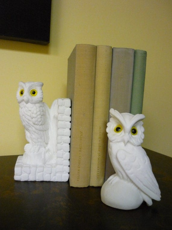 Vintage Salt Stone Owl Bookend & Paperweight, Office Decor
