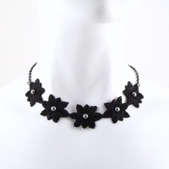 Black Choker Lace Flowers and Swarovski Elements Grey / Charcoal Pearls - Necklace, Women Jewelry, Jewellery, Chocker
