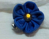Buttery Soft Blue Leather Japanese Flower Blossom Hair Bow / Clip