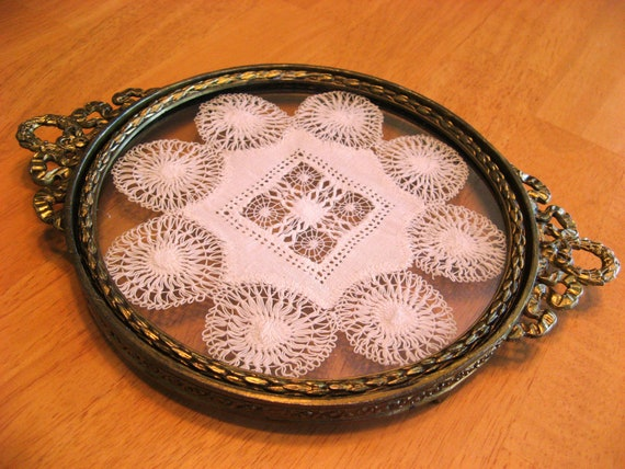 Vintage Vanity Tray With Handmade Lace