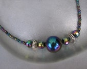 Black Light - Iridescent Crystals, Glass and Agate Beaded Necklace - Free US Ship