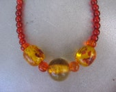 Sunset on the Blvd - Yellow, Yellow and Red/Orange and Shades of Orange Beaded Necklace