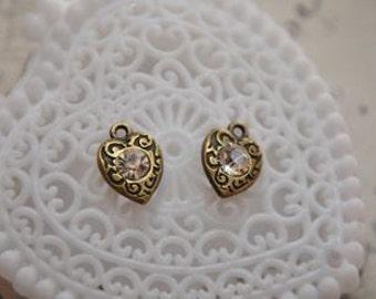 10pcs  antique bronze  plating heart  pendant finding