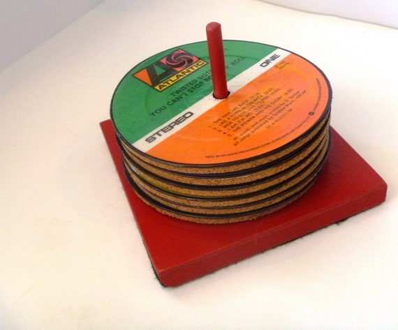 Classic Rock Vinyl Records Coasters with Stand - Set of 6