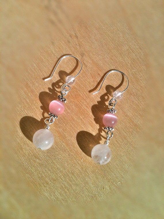 Earrings with Rose Quartz and Pink Cat's Eye on Sterling Silver Wire